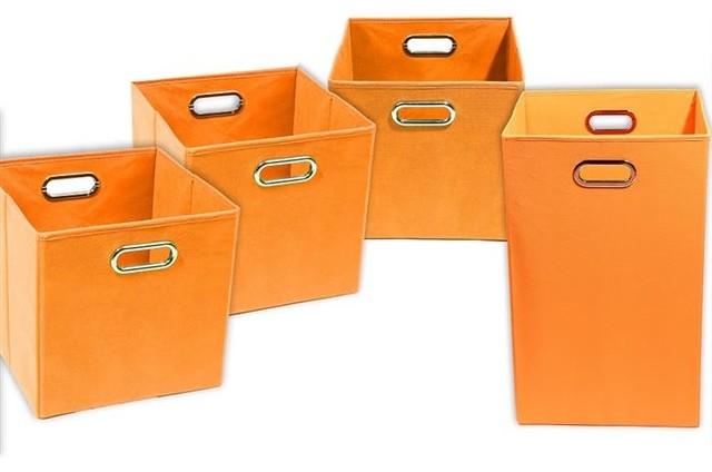 Bold Solid Orange Organization Bundle- 3 Storage Bins, 1 Laundry Hamper - Contemporary - Hampers ...