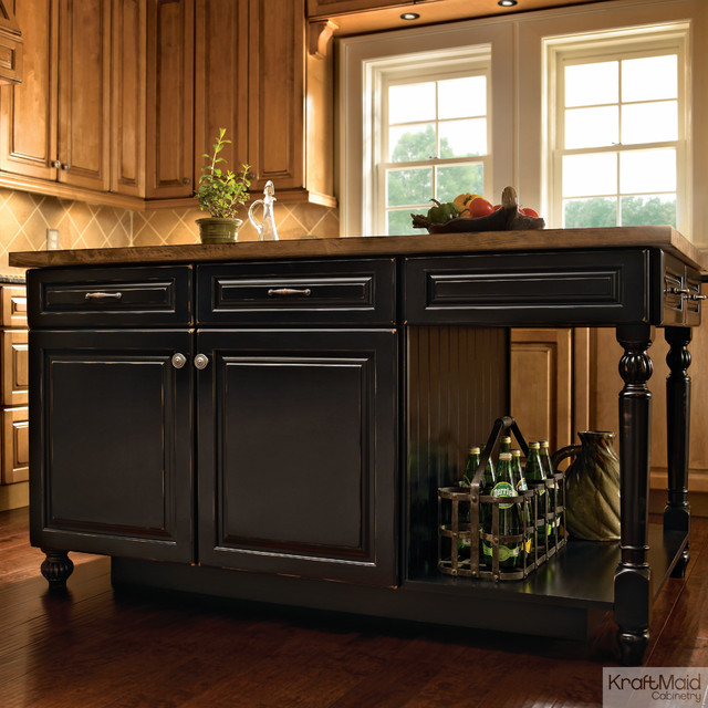 kraftmaid kitchen island in vintage onyx transitional