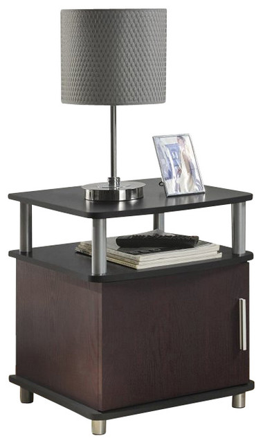 Altra Furniture Carson End Table With Storage In Cherry And Black Contemporary Side Tables