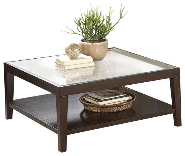 Homelegance vincent square wood cocktail table with glass overlay traditional coffee tables Traditional coffee table