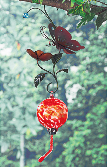 Metal Art Hummingbird Feeder traditional bird feeders