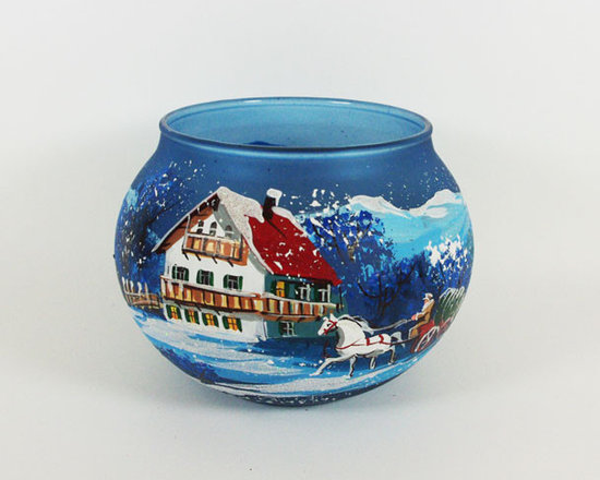 """""""Bavaria"""" Hand painted glass Candle Holder - This beautiful candle holder is 120mm in diameter and 80mm in height. It made of hand blown blue glass. It has Bavarian village landscape. It is not just a candle holder it's a work of art, hand painted by a skilled artist and will be a beautiful addition to your Christmas ornaments collection. Artists use same painting technique that was used in 1800's. Each glass ornament is painted individually which makes them unique and adds some small variations to each product."""