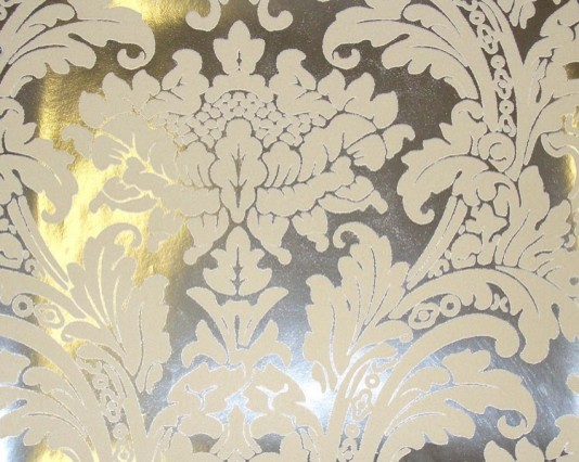 Cream Flock | Silver Foil Damask Wallpaper - eclectic - wallpaper
