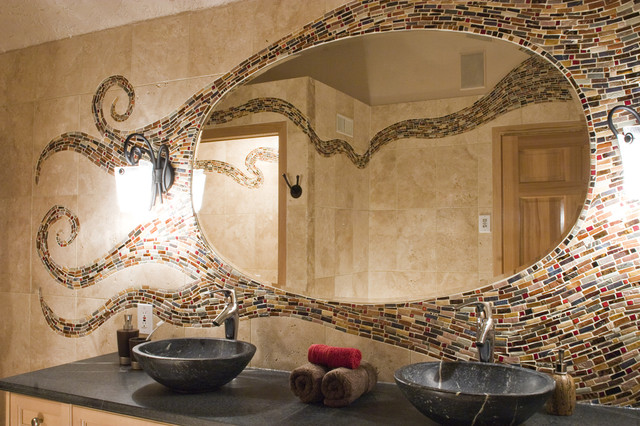 mediterranean bathroom by Mercury Mosaics and Tile