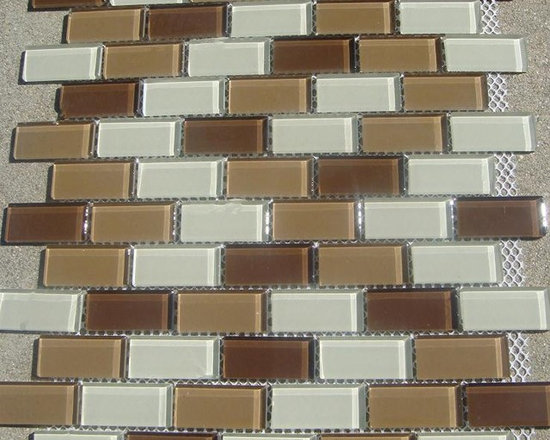 B11 Lt/Dk Brown and Beige Glass Mosaic Tile - Lt/Dk Brown and Beige Glass Mosaic Tile B11