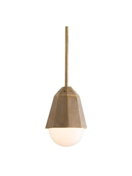 Arteriors Pendants - Form and function join together in this vintage brass conical mini pendant, specifically designed to house a four inch frosted globe bulb so that it appears as a single unit. Inspired by the modern designs of turn-of-the-century Vienna, imagine a series of these pendants hanging over a kitchen island or down a long hall. Additional pipe available. Canopy Dimension H: 1.5 Canopy Dimension Dia: 5.75 Pendant Dim H: 6.5 Pendant Dim Dia: 5.5