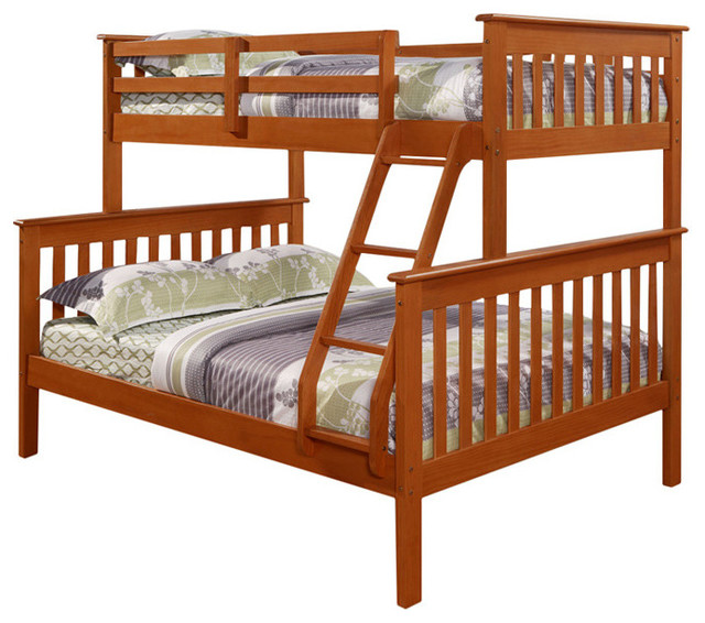 Donco Kids Bunk Bed With Built In Ladder Light Espresso