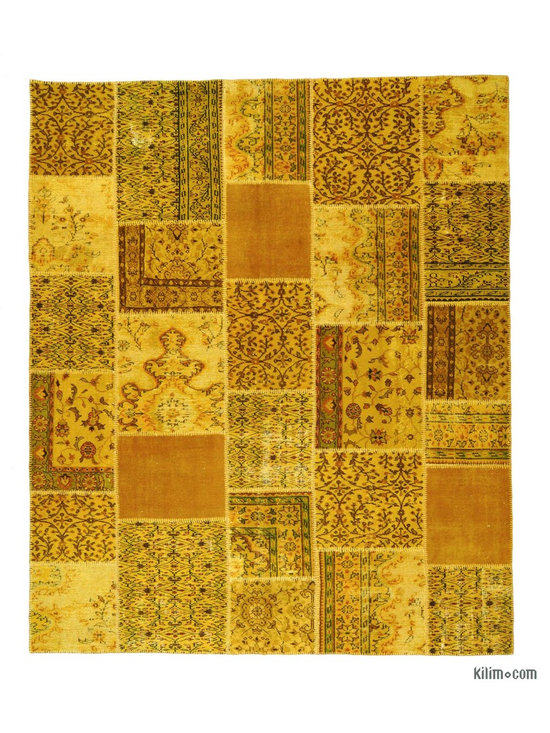 Overdyed Anatolian Patchwork Rug - This piece is an Overdyed Anatolian Patchwork Rug created by first neutralizing the colors and then over-dying with yellow to achieve a contemporary effect and bring old hand-made rugs back to life. The result is almost like an abstract painting. This piece is backed with cotton cloth to reinforce. We can also custom make a similar patchwork rug with your color and size requirements.