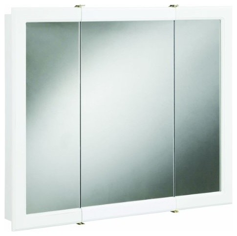 Concord White Gloss Tri-View Medicine Cabinet Mirror with 3-Doors and 2-Shelves - Modern ...
