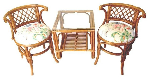 Used Bamboo Table & Chairs Tropical Patio Furniture