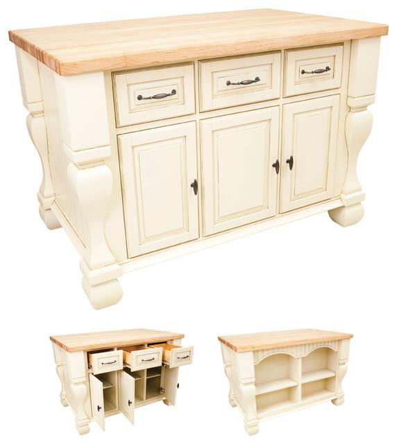 Lyn Design ISL01 Kitchen Island Antique White Traditional Kitchen Island