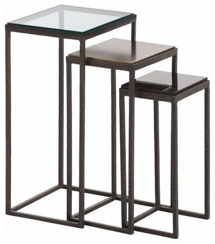 Arteriors Knight Small Waxed Hammered Iron Accent Tables contemporary-side-tables-and-end-tables
