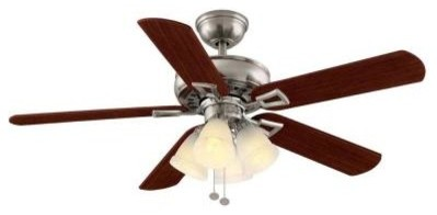 Indoor Ceiling Fans: Hampton Bay Ceiling Fan. Lyndhurst 52 in. Indoor Brushed Ni contemporary-ceiling-fans