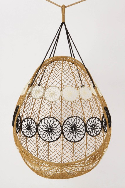 Knotted Melati Hanging Chair, Natural Motif eclectic-outdoor-lounge-chairs