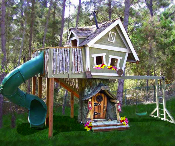 Monkey Mansion Treehouse eclectic outdoor playsets