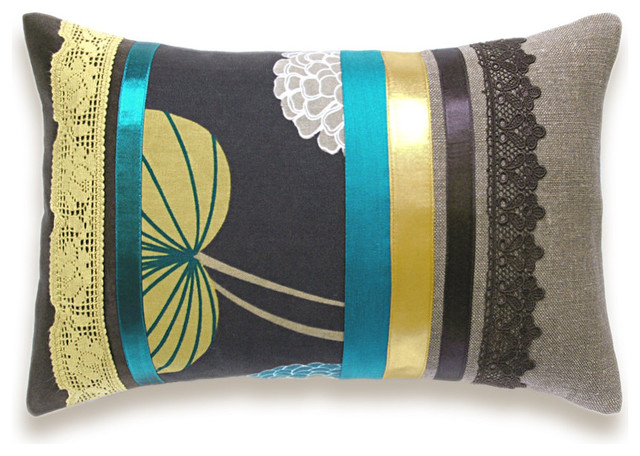 Eclectic Pillow Cases : Teal Beige Mustard Chocolate Lumbar Pillow Case - Eclectic - Decorative Pillows - other metro ...