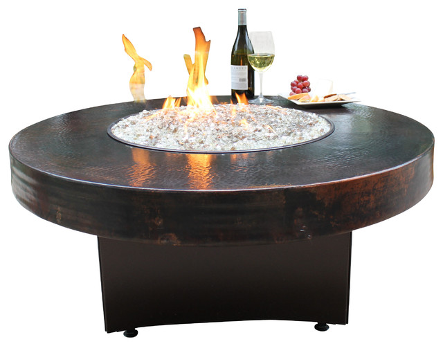 Gas Fire Pit And Table Hammered Copper Rustic