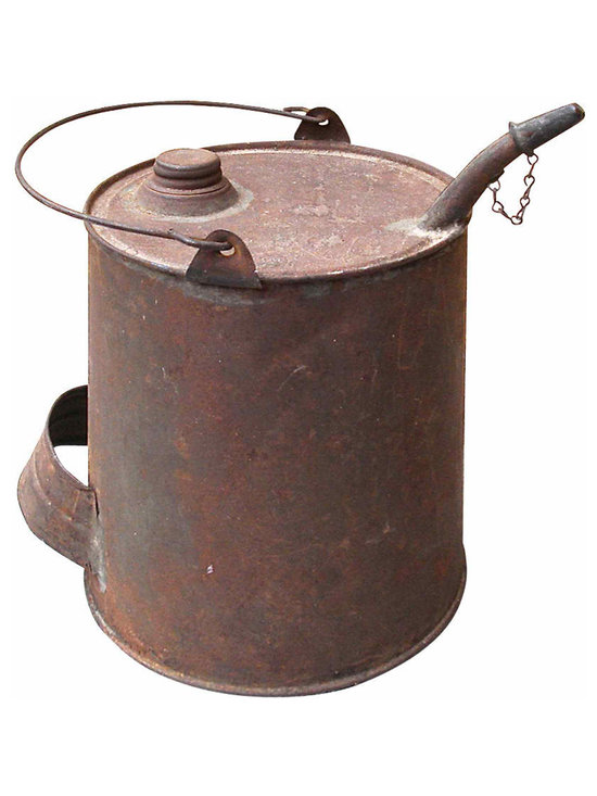 Oil Can - Whimsical, vintage can with an earthy rusty patina. Can has its original working cap and side grip. The spout has its original chained cover - rare. An accent sure to compliment your country home decor.