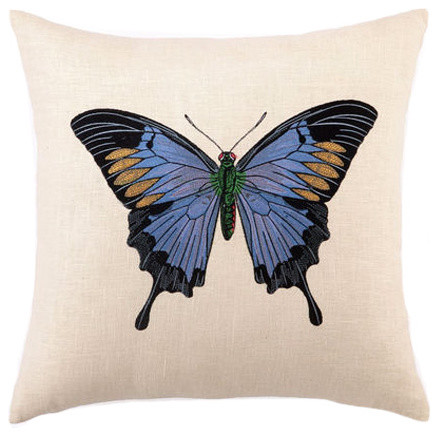 Butterfly Embroidered Linen Pillow contemporary pillows
