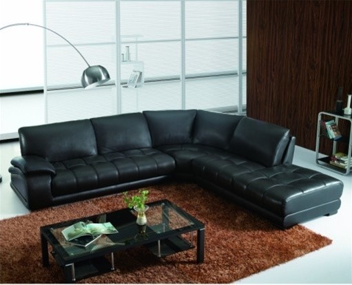 Basete - Black Leather Sectional Sofa modern-sectional-sofas