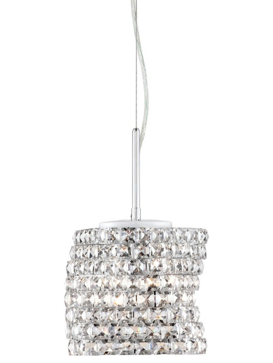 """Possini Euro Design - Annita Chrome 14"""" Wide Crystal Pendant Light - Beautiful crystal pendant light. Chrome finish. Clear square crystals. Flat glass diffuser. Includes three 40 watt G9 halogen bulbs. Measures 14"""" wide 8 1/2"""" high. Includes 11 1/2 feet of cord. Canopy is 4 3/4"""" round. Hanging weight is 6.7 lbs.  Beautiful crystal pendant light.  Chrome finish.  Clear square crystal.  Flat glass diffuser.  Includes three 40 watt G9 halogen bulbs.  Measures 14"""" wide 13 1/4"""" high (with 5"""" rod).  Includes 11 1/2 feet of cord.  Canopy is 4 3/4"""" round.  Hanging weight is 6.7 lbs."""