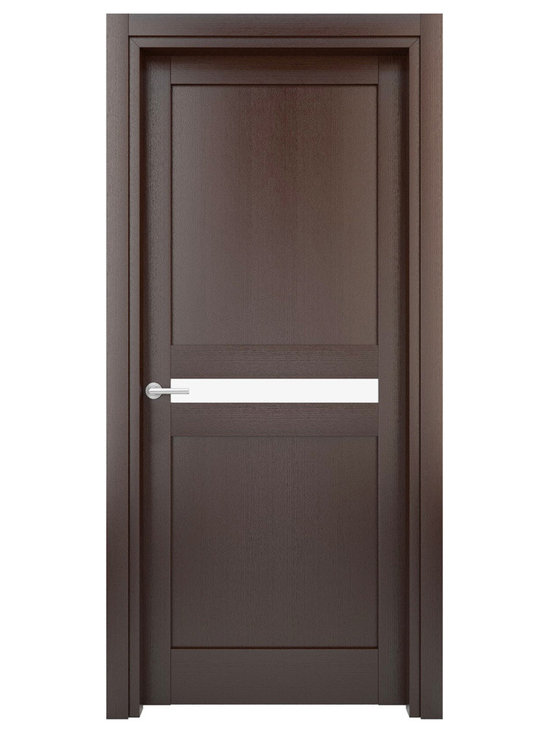 Interior Door Solid Wood Construction (Laminated) Wenge Model W20g - Lamination - this technique of manufacturing a material in multiple layers, so that the composite material achieves improved strength, stability, sound insulation, appearance or other properties from the use of differing materials. A laminate is usually permanently assembled by heat, pressure, welding, or adhesives.