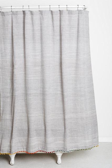 Magical Thinking Yarn Dye Pom Pom Shower Curtain Contemporary Shower Curtains By Urban