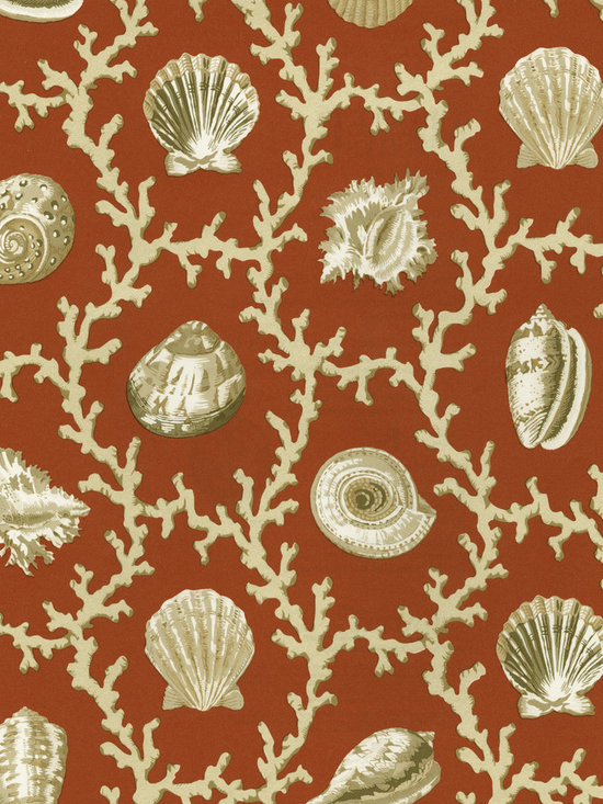 Nautical Wallpaper - This sophisticated coral and seashell wallpaper is perfect for a beachside getaway. From the book Waverly Master Suites at AmericanBlinds.com