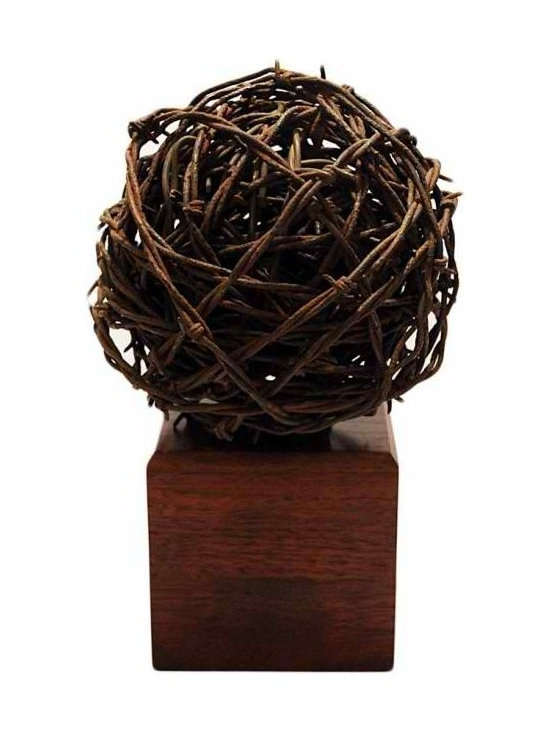 Wire Sculptor - An interesting sculptor made from vintage barbed wire with mahogany wood stand. A beautiful tabletop piece with texture and interest.