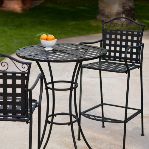 Capri Woven Wrought Iron Bar Height Bistro Set Contemporary Patio Furnitu