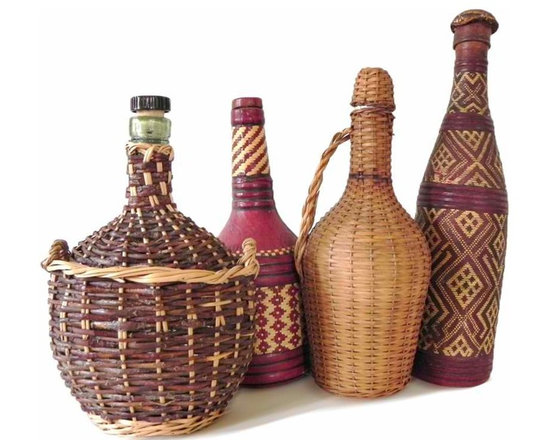 Four Demijohns - One currated collection of four wine demijohns, thier intricate pattern of contrasting wicker and rattan makes this collection unusual.