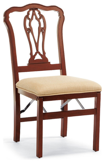 Set of Two Chippendale Pierced Back Folding Chairs traditional-living-room-chairs