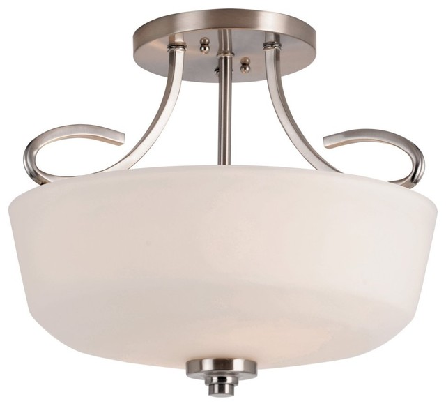 Transglobe 9551 BN Semi Flush-Mount - Brushed Nickel - 15W in. contemporary-ceiling-lighting