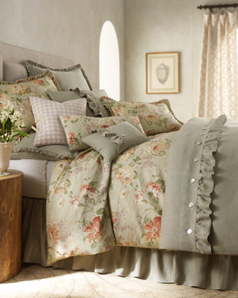 Traditions by Pamela Kline Tidewater & Heritage Bed Linens King Sage Linen Sham traditional-sheets
