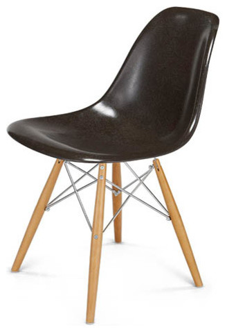 Eames Style DSX Fiberglass Shell Chair Charcoal Shell Dowel Base Midcentu