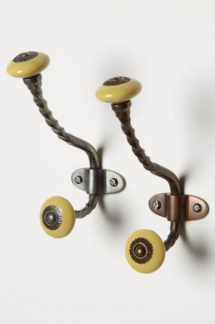 Zinnia Hook - Antique Brass contemporary-wall-hooks