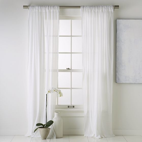 Crinkle cotton window panel modern curtains by west elm Contemporary drapes window treatments