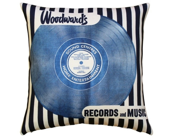 """Pillow Decor - Pillow Decor - Woodward's Records and Music Throw Pillow - The Woodward's Records and Music Throw pillow features the design that covered the paper shopping bag used by Woodward""""s Department Stores as early as 1950. The shopping bag was made to accommodate a full size vinyl LP, and it became a common sight under the arms of Woodward's customers. From the Museum of Vancouver's Retail Collection. Designed and manufactured by Pillow Decor under license from the Museum of Vancouver."""