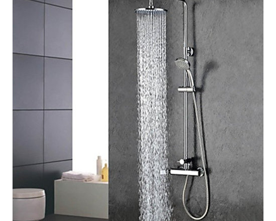 Shower Faucets - Chrome Finish Widespread Two Handles Rainfall Shower Faucet--FaucetSuperDeal.com