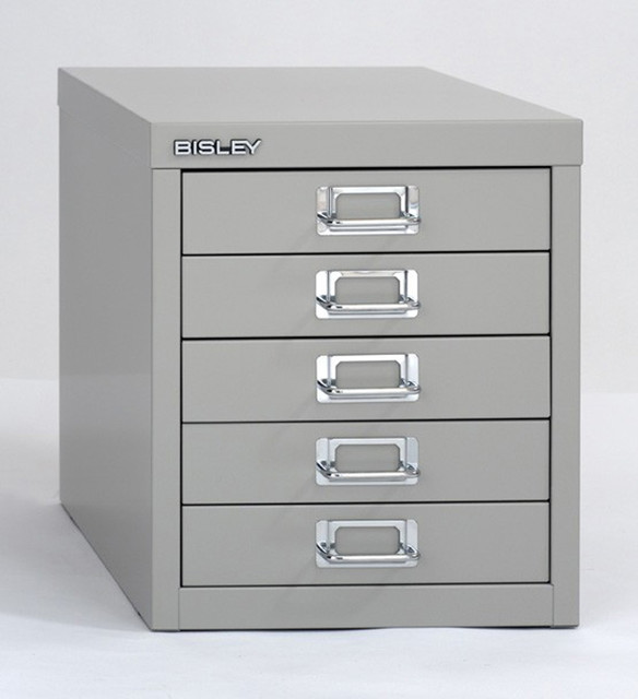 Bisley 5-Drawer Desktop Multi-Drawer Cabinet in Bright Silver Steel - Traditional - Filing ...