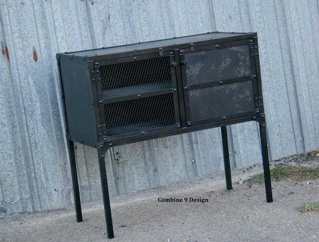 Vintage Industrial Buffet/Hutch/Sideboard. Urban Style. Bar. Loft Decor. midcentury-buffets-and-sideboards