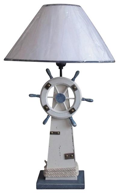 Lighthouse & Ship Wheel Table Lamp - Beach Style - Table ...