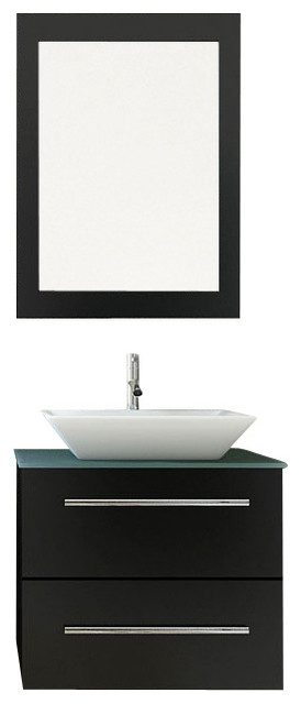 "24"" Carina Small Vessel Sink Wall Mounted Modern Bathroom Vanity with Glass Top modern-bathroom-vanities-and-sink-consoles"