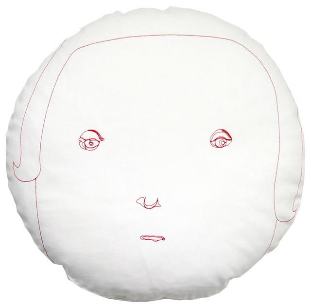 K Studio - Female Round Face Pillow modern-decorative-pillows