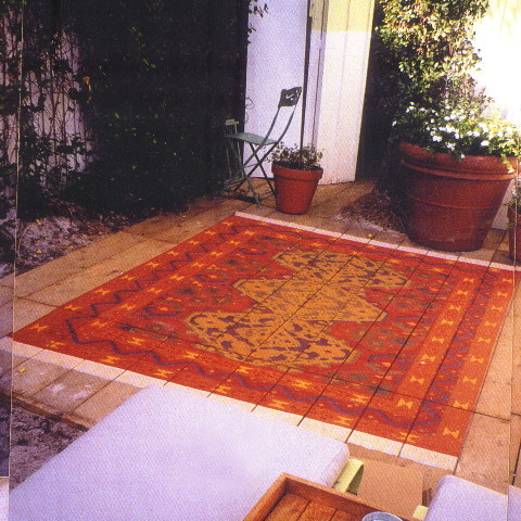 Faux kilim rug in an outdoor space at a Miami hotel