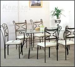 Table manger avec 6 chaises services et ustensiles for Salle a manger kapaza