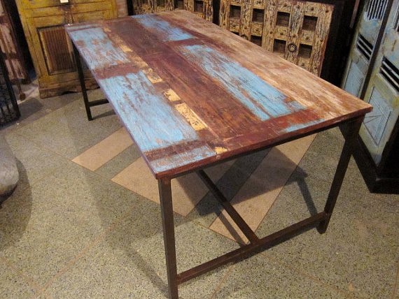 Blue Rustic Modern Dining Table by Hammer and Hand Imports traditional-dining-tables