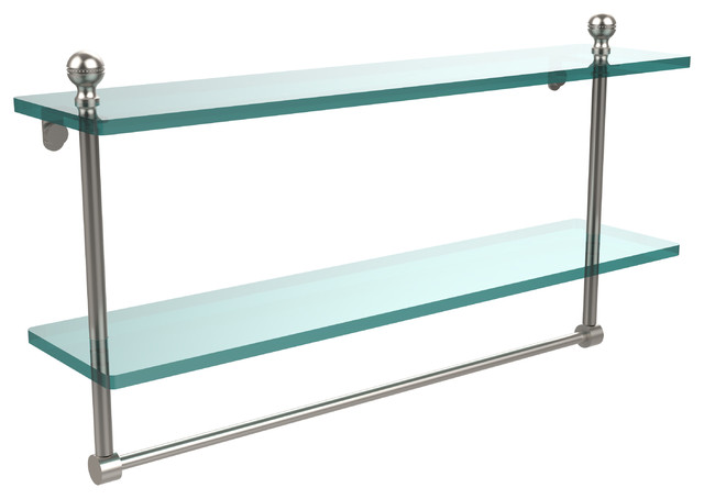 22X5 Glass Shelf With Towel Bar Satin Nickel Contemporary Bathroom Cabin