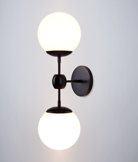 Modo Sconce - 2 Globes - Black/Cream - Contemporary - Wall Sconces - new york - by Roll & Hill