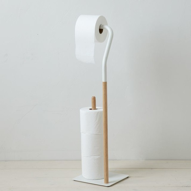 Modern two tone toilet paper stand modern toilet for Bathroom accessories stand